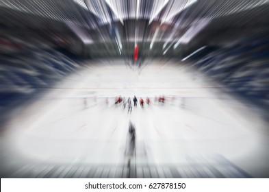 Ice hockey players with coach on stadium during training - Ice hockey concept photo