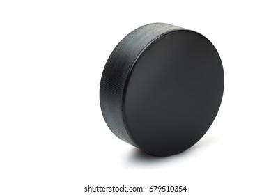 Ice hockey puck isolated on white