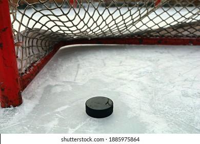 Ice Hockey Puck and Net