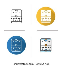 Ice hockey rink icon. Flat design, linear and color styles. Hockey stadium scheme. Isolated raster illustrations