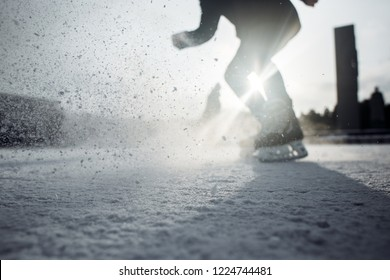 Ice hockey rink scratches surface for texture or background.