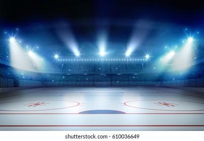 Ice hockey stadium 3d rendering, the imaginary ice hockey stadium is modeled and rendered.