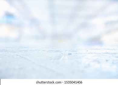 ICE HOCKEY STADIUM BACKGROUND, WINTER SPORT FIELD WITH SCRATCHED ICE