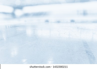 ICE HOCKEY STADIUM BACKGROUND, WITER SPORT ARENA WITH COLD ICY SLIPPERY SURFACE