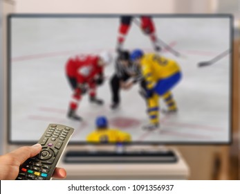 ice hockey viewing on TV and tv remote control