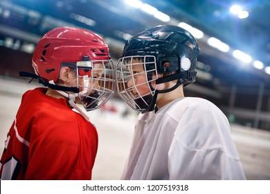 Ice Hockey - youth boys players rival