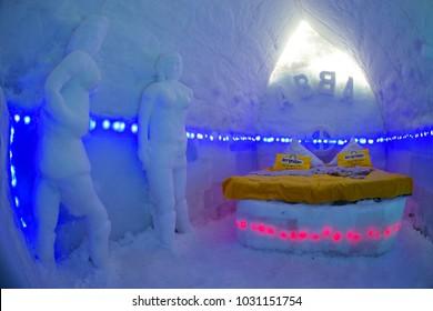 ICE HOTEL - BALEA LAKE ROMANIA - FEBRUARY 18 2017: The famous ice hotel on the frozen Balea lake in Fagaras Mountains, Transylvania, Romania, Europe
