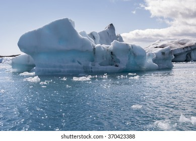 ice and icebergs on jokulsarlon lake in Iceland