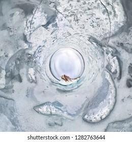ice icicles on Ogoy island winter Lake Baikal. Siberia, Russia. tiny planet 360