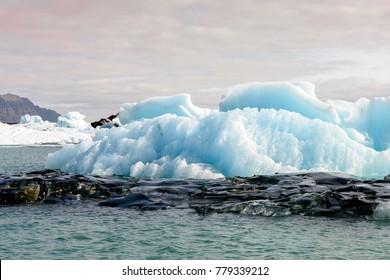 Ice of Jokulsarlon, a large glacial lake in southeast Iceland, Vatnajokull National Park