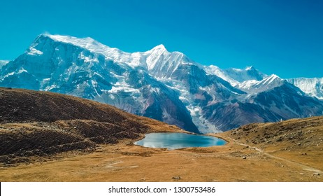 Ice lake, as part of the Annapurna Circuit Trek detour, Himalayas, Nepal. Annapurna chain in the back, covered with snow. Clear weather, dry grass, snowy peaks. Freedom, solitude, chill and relaxation