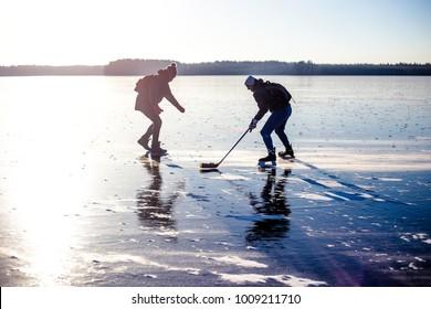 Ice lake skating and hockey