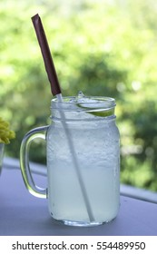 Ice lemon juice with afternoon light