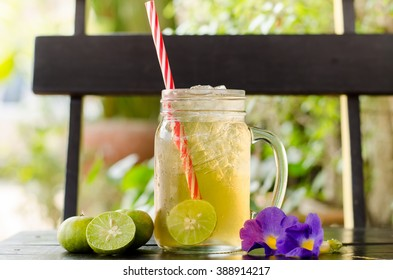 Ice lemon tea in the glass,cold drink