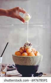 Ice melon Bingsu, famous korean ice-cream.