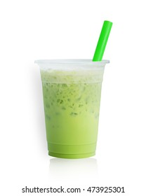 Ice milk green tea isolated on white background. This has clipping path.