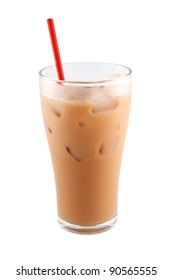 Ice milk tea with red straw on white background.