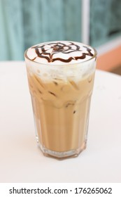 Ice mocca coffee with foam milk.
