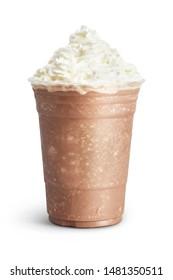 Ice mocha smoothie isolated on white