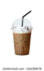 Ice mocha in take away plastic cup with black straw isolate on white background. Freshness with caffeine in coffee.