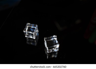 Ice on a black background