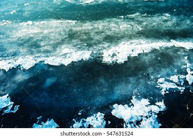 Ice on frozen river water surface, winter season abstract background