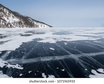 Ice on the Lake Baikal, Siberia, Russia.