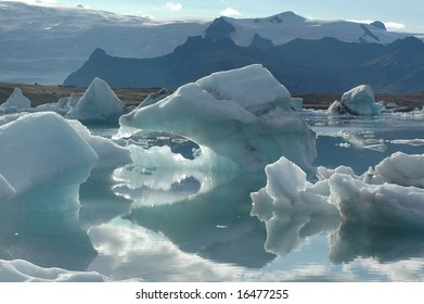 Ice on lake in mountains