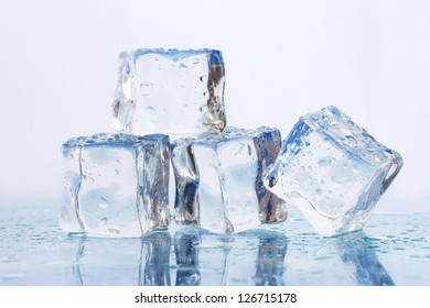 Ice on light background