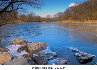 Ice on Maryland USA's Monocacy River