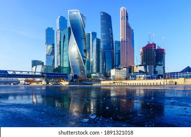 Ice on the Moscow River and the Moscow City International Business Center. December 12, 2020