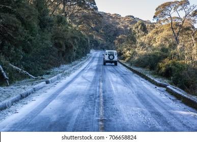 "Ice on the road at the way of ""morro da Igreja"", Brazil"