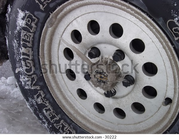 Ice on tire.