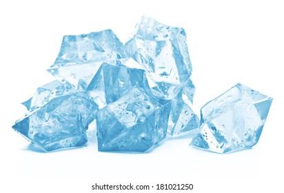 Ice on white background.