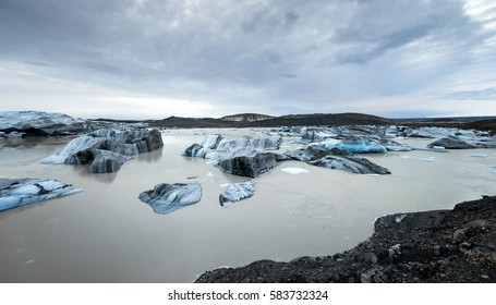 Ice over surface water, Glacier Vatnajökull in south Iceland