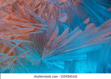 Ice pattern on frozen window, Christmas winter background