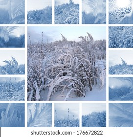 Ice pattern on winter glass and plants under the snow