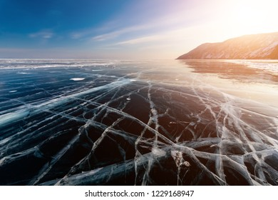 Ice patterns on Lake Baikal, Siberia, Russia