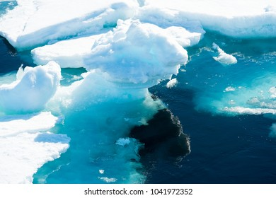 Ice pieces on the water in Arctic