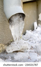 Ice in a pipe.