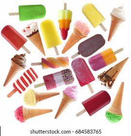 Ice popsicles, icecream large collection over a white background
