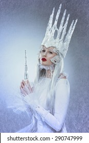 Ice queen with crown made of ice