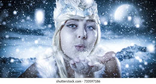 Ice queen and winter landscape