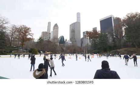 Ice Rink at Central Park New York - NEW YORK / USA - DECEMBER 4, 2018