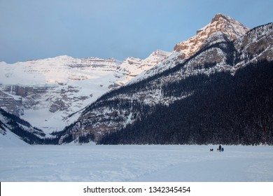 Ice Rink Lake Louise Chateau winter Alberta Canada