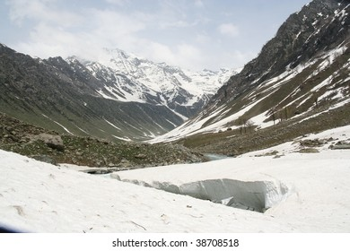 ice river and snow Kashmir, Himalaya India