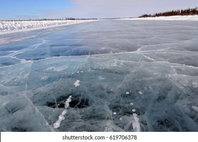 The ice road between Inuvik and Tuktoyaktuk, Northwest Territories, Canada.