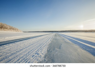 Ice road in the Lena River (Yakutsk)
