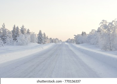 Ice roads in Lappland winter -  Driving home for Christmas. Harsh driving conditions.