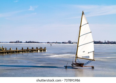 Ice sailing on the Braassem lake in Roelofarendsveen in The Netherlands.